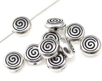 Silver Beads - 7mm Antique Silver Metal Beads - TierraCast Pewter Spiral Beads - Flat Round Silver Swirl Beads  (P293)