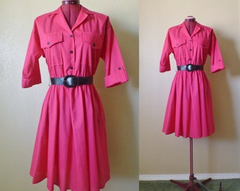 vintage 80's  SHIRT DRESS  with belt. fuchsia dress. pink dress shirt. shirt dress. twill dress