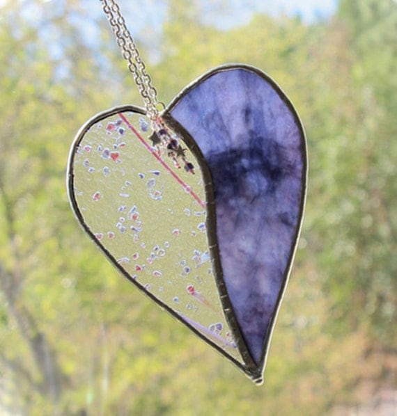 SALE 1/2 OFF - Stained Glass Heart in Swirling Purple and Confetti Glass
