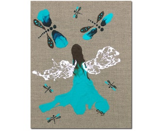 Fairy Queen Of The Dragonflies Original Painting Girls Room Turquoise Blue Art