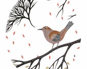 Cetti's Warbler - Archival 8x10 Art Print - Modern Watercolor Bird Painting - by Natasha Newton