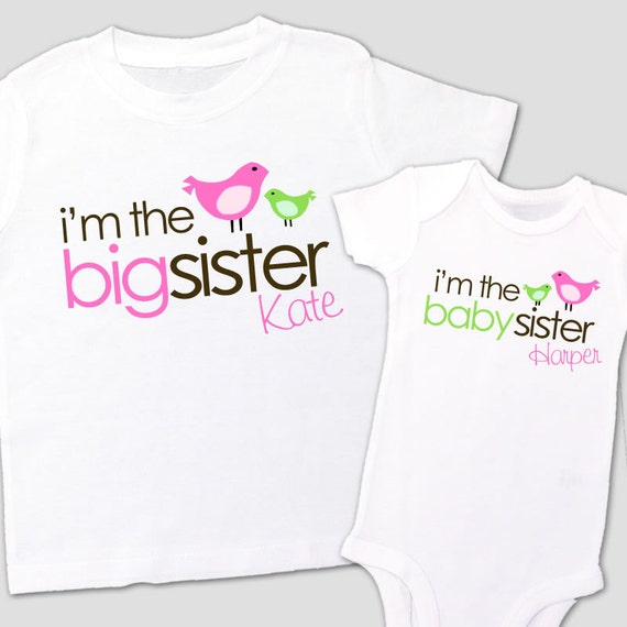 big sister shirt, baby sister shirt - adorable I'm the big/baby sister matching sibling set for any big/little combination