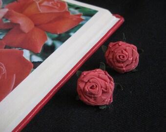Rose Ribbon Earrings 1950's Flower Garden Party Vintage