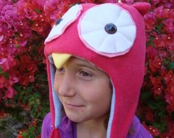 Owl Hat Pink with Earflaps fleece animal hat