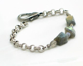 Labradorite Nuggets Bracelet, Stones and Chain Gray Cuff, Gemstone Bracelet, WillOaks Studio Original Design