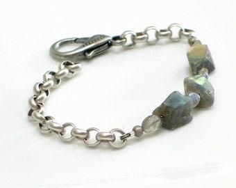Labradorite Nuggets Bracelet, Stones and Chain Gray Cuff, Gemstone Bracelet, WillOaks Studio Original Design