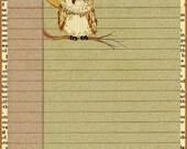 Little Owl mini digital journal page