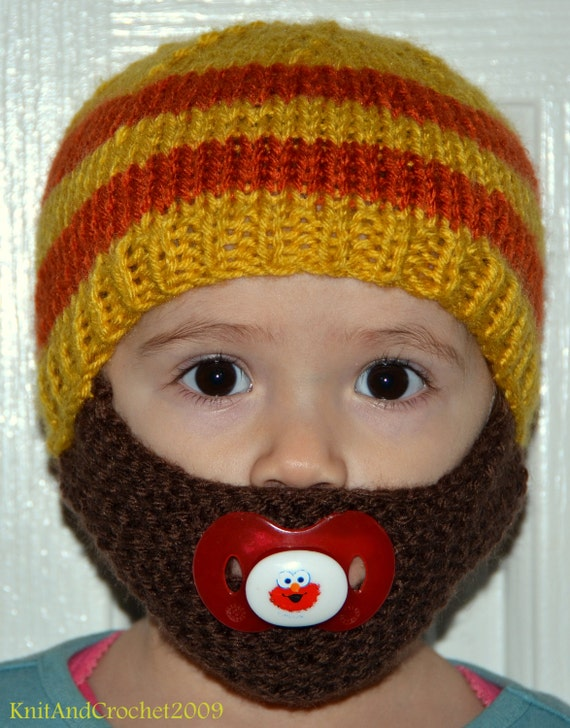Men Scarf Knitting Patterns : Beard Hat Knitted Beard Hat Beard Beanie Kids-All Sizes