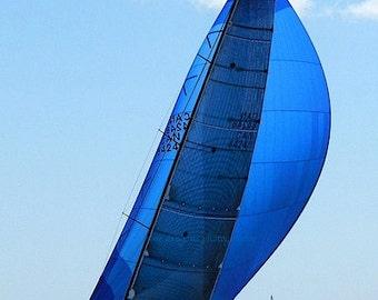 Cobalt Blue Sailboat Photography, Blue Nautical Decor, Sailboat Art, Nautical Print, Blue Beach Art, Coastal Wall Art, Blue Sailboat Print