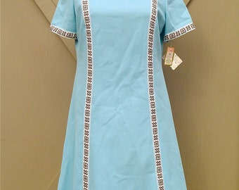 Mod vintage Puritan Forever Young Robin's Egg Blue Polyester Dress with Decorative Trim NOS