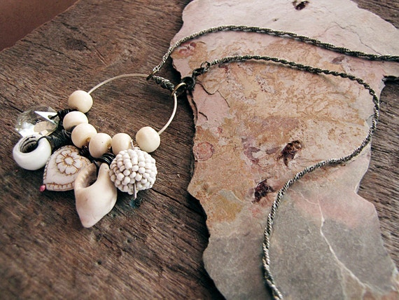 Harvest - artisan assemblage necklace - pale charms - bone beads - gypsy bride