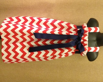 Salute to the Red, White and Blue .. Patriotic Dress .. Girls Red and White Chevron Dress...Girls Chevron Jumper