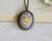Large Carved Ivory, Purple Lilac Rose Flower Cameo Locket Necklace. For Mom. Statement Necklace. Mothers Day Gift. For Girlfriends.