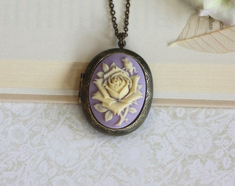 Large Carved Cream and Purple Lilac Cameo Flower Necklace, Locket Necklace. For Mom. Statement Necklace. Christmas Gift. For Girlfriends.