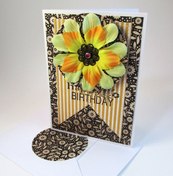 Birthday Greeting Card Large Flower Design