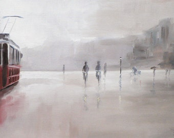 the tram: giclee art print of a street scene in the rain