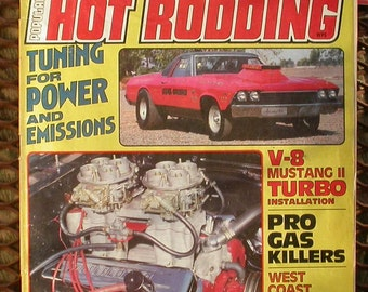 Popular Hot Rodding, March 1981,  vintage magazine, cars, hot rods, race cars, man cave, gas station, auto shop