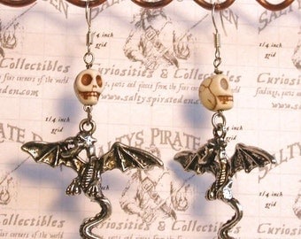 Skull and Dragon earrings, goth pirate drop earrings, hand made jewelry