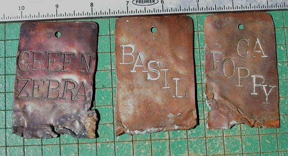 Copper Garden Markers, Odd Ones, Ca Poppy, Basil, Green Zebra, recycled primitive PostApocalyptic