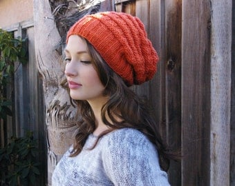 Slouchy Knit Beanie // Burnt Orange Beanie // Knit Slouchy Hipster Hat //Winter Knit Beanie // Gift
