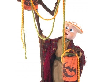 """Mixed Media Sculpture Inspired by Antique German Hallowe'en Folk Art Toys - """"Decorating for the Costume Ball"""""""