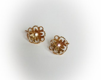 Vintage Gold Tone Metal Flower Earrings with Iridescent Rhinestone Centers