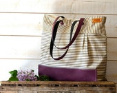 WATER PROOF Best Seller Diaper bag / Messenger bag / STOCKHOLM Gray and ecru nautical stripe /Grape / Purple  Leather 10 pockets