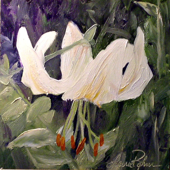 Botanical Oil Painting Garden Woodland Flower White Tiger Lily Nature Art