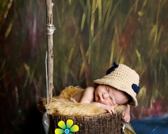 Going Fishing Cotton Hat  with Two Fish - newborn  - photography prop - made to order