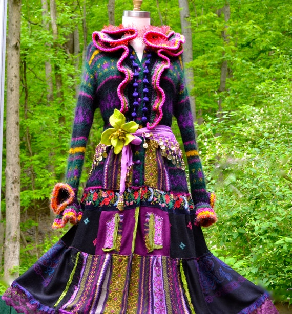 Long Patchwork Gypsy Sweater/Coat with appliqué and crocheted collar. Size XL. Ready to ship