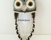 Brown Owl Hat Crochet Baby Toddler Childrens Adult Bird Hat Beanie Ear Flaps braids Photo Prop