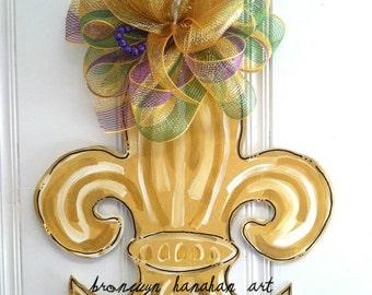 Fleur de Lis  Door Hanger - Bronwyn Hanahan Art