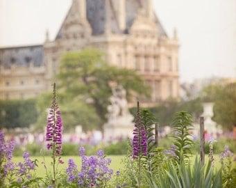 Paris Photography, The Louvre, Flower Garden, French Fine Art Travel Photograph, Wall Decor