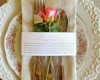 50 QTY - Wedding Menu Napkin Wraps, Customizable & Affordable