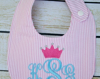 Unique monogrammed Princess bib, Personalized bib, Monogrammed bib, Baby shower gift, Seersucker bib, You Customize
