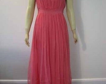 Vintage Dress Art Deco 30s Pink High End Evening Gown with Belt and Tiara M - on sale