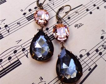 Alyson Earrings Swarovski Blush Pink Light Peach Black Diamond Bridal Bridesmaid Wedding