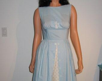 Vintage 50's 60's Rockabilly, day dress, Lolita, swing, full skirt Dress.  Helen Whiting.  Baby Blue and White.