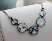 Modern Blue and White Statement Necklace. Navy. Light Blue. Damask. Gift for her under 40 usd.