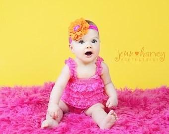 Orange Velvety Flower w/ Hot Pink Beaded Center Hot Pink Stretchy Lace Headband, Baby Toddler Child Girls Headband