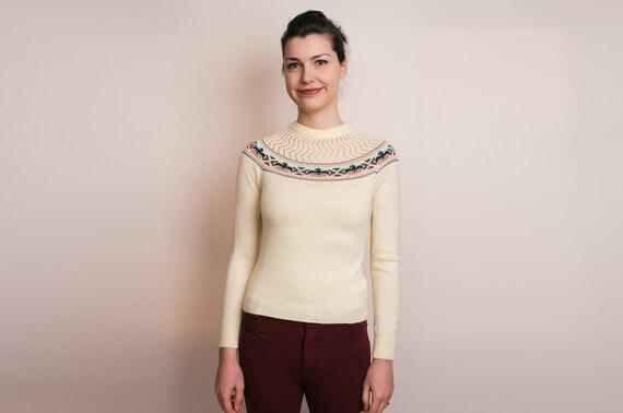 1970s Sweater - 70s Vintage Thunderbird Knit - Snooky par britton de paris - XS / S