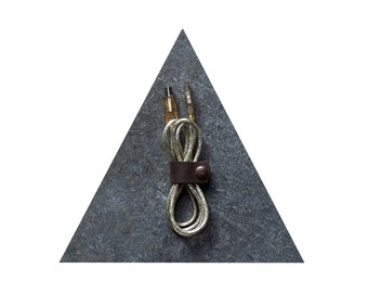 2 Brown Leather Bands - Large and Small - Handmade Leather Cord Organizer - USB Accessories