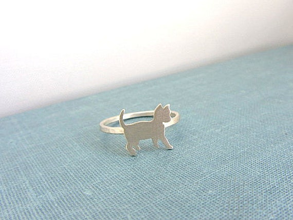 Cat ring sterling silver - Kittie animal pet ring.