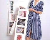 vintage 80s pajama chic double breasted striped dress - size s/m