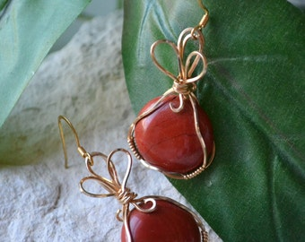 Red Jasper Gold Wire Wrapped Earrings - Red Jasper Earrings - Wire Wrapped Earrings