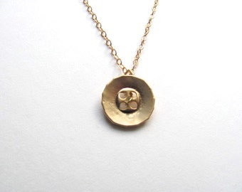 Golden button charm necklace on delicate 14k gold fill chain, vintage-inspired, seamstress gift