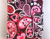 Kindle Fire Case iPad Mini Case Pink Red and Black Paisley and Hearts Cases and Covers Personalized Kindle Fire 7 Case Tablet Cover eReader