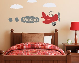Plane Wall Decal with Boys Name Personalized - Airplane Decal - Boy Personalized Wall Sticker - Kids Wall Decor - Name Decal