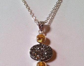 Earring & Necklace set Fancy Semi-precious natural stone