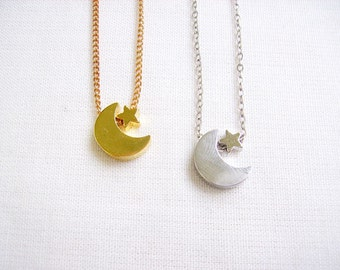 Moon Star Necklace,  Gold or Silver Moon Crescent Necklace - Tiny Treasures Collection